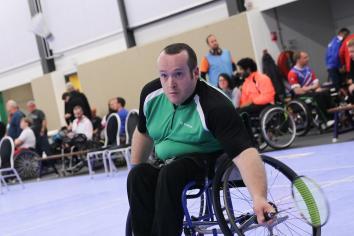 Making a racquet at the World Para-Badminton Championships